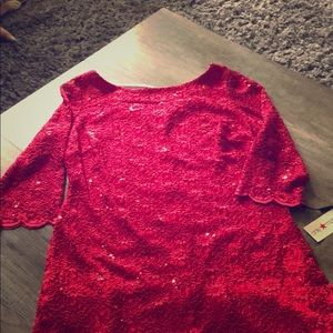 Red Sequined Calvin Klein Cocktail Dresss